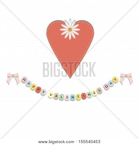 festive poster for Valentine's day. Heart and hanging letters happy Valentine's day on white background. Pattern to decorate or design a birthday card or scrapbook page album. Cute vector illustration