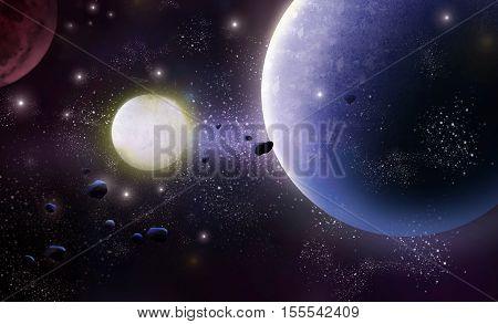 Universe, Star Region. Video Game's Digital CG Artwork, Concept Illustration, Realistic Cartoon Style Background