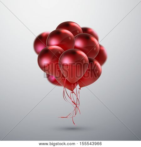 Red Balloon Bunch. Vector Holiday Illustration Of Flying Red Balloons. Birthday Or Other Holiday Event Decoration Element
