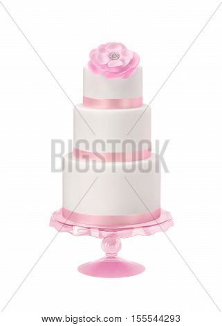 Wedding cake birthday cake with pink flower isolated on white. 3D rendering