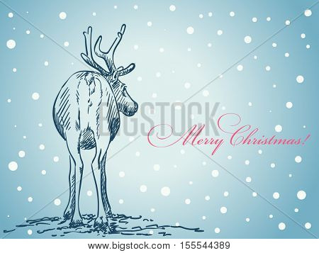 Christmas card hand drawn reindeer tail view on blue winter background