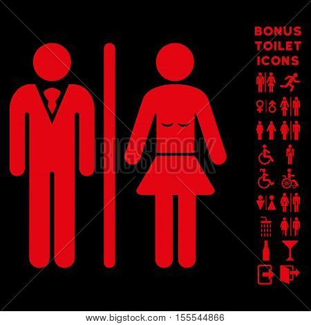 Toilet Persons icon and bonus gentleman and female restroom symbols. Vector illustration style is flat iconic symbols, red color, black background.