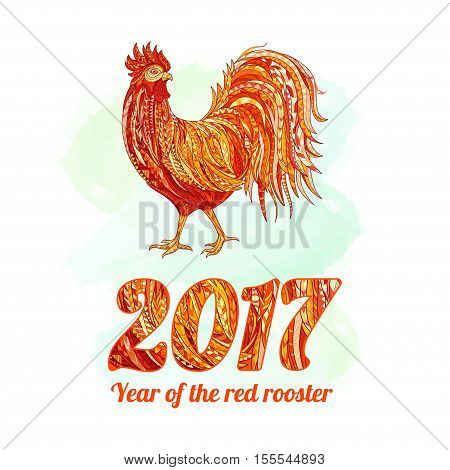 Vector illustration of rooster, symbol of 2017 on the Chinese calendar. Silhouette of red cock. Vector element for New Year s design. Image of 2017 year of Red Rooster. Vector