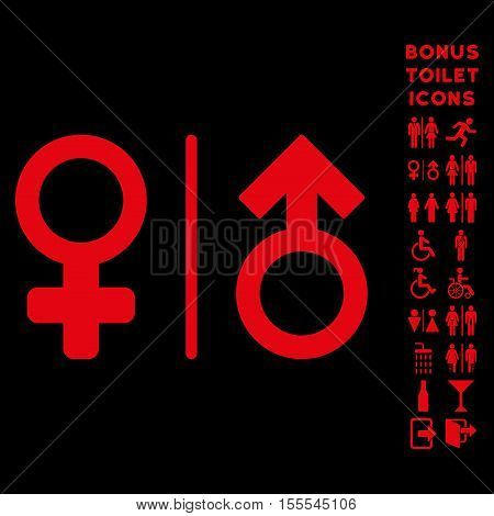WC Gender Symbols icon and bonus gentleman and woman WC symbols. Vector illustration style is flat iconic symbols, red color, black background.