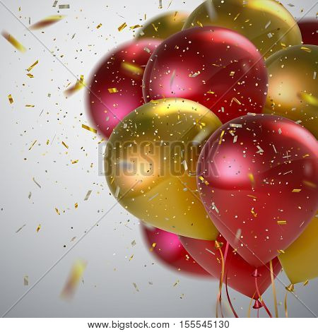 Vector festive illustration of flying realistic glossy balloons. Golden and red balloon bunch with golden confetti glitters. Decoration element for holiday event invitation design