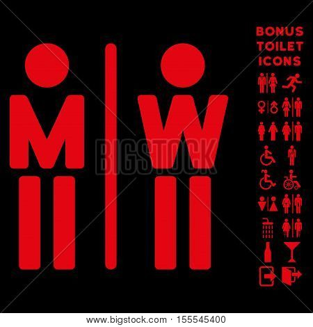 WC Persons icon and bonus man and lady WC symbols. Vector illustration style is flat iconic symbols, red color, black background.