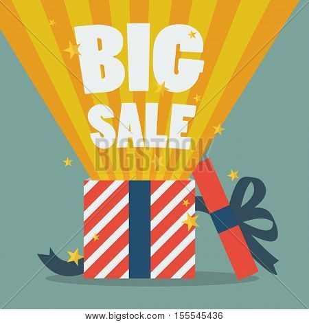 Big sale with a Christmas gift box. vector illustration