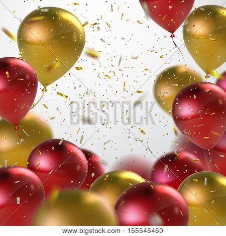 Red And Golden Balloons With Holiday Confetti. Vector Holiday Illustration Of Flying Red And Golden Balloons With Confetti Glitters. Award Ceremony Or Other Holiday Event Decoration Element
