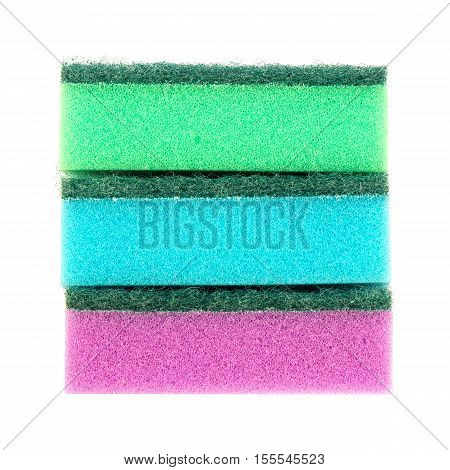 Image of colored sponges isolated close up / cleaners detergents household cleaning sponge for cleaning / cleaning sponge with scrub isolated on white background