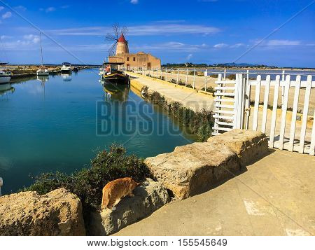 Panoramic view of windmill in Stagnone lagoon, Marsala, Sicily