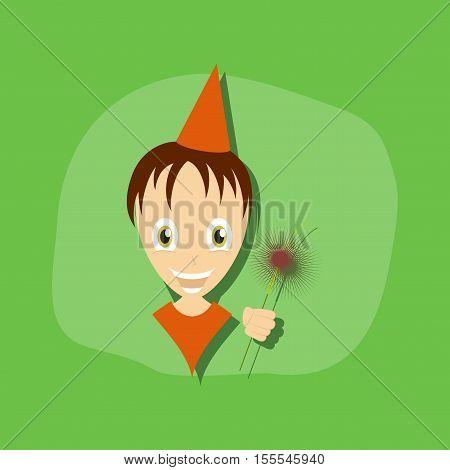 paper sticker on stylish background of child sparkler
