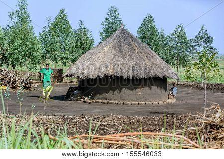 Uganda, Africa-  April 2, 2016: Huts in the Village in Uganda Africa