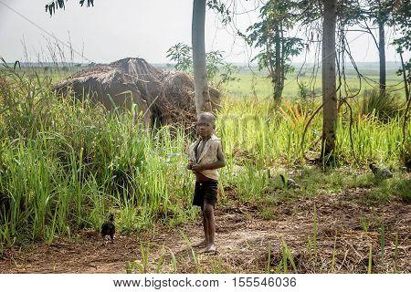 Uganda, Africa-  April 2, 2016: Children living in the Village near Mbale city in Uganda Africa