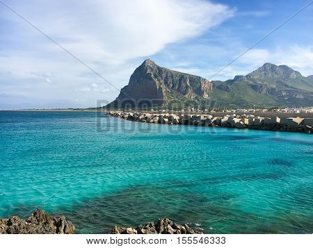 San Vito lo Capo beach and Monte Monaco in Sicily