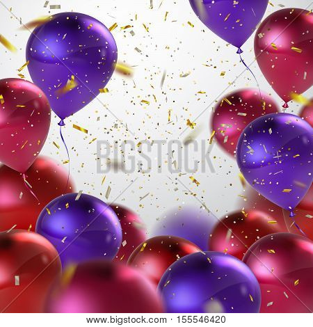 Colorful Balloons And Holiday Confetti. Vector Holiday Illustration Of Flying Balloons And Confetti Glitters. Award Ceremony Or Other Holiday Event Decoration Element
