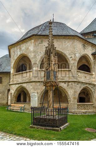 Pagan temple and Gothic light column in Maria Saal Carinthia Austria