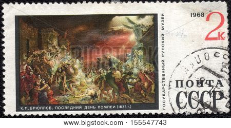 USSR - CIRCA 1968: A stamp printed in the USSR shows draw by artist Karl Briullov - Last Day of Pompeii, series Russian museum collection, circa 1968