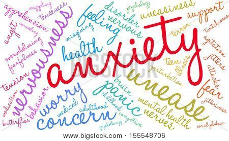 Anxiety word cloud on a white background.