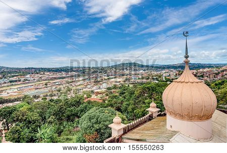 Kampala, Uganda- April 3, 2016: View from the above Kibuli mosque of the Capital city Kampala in Uganda Africa