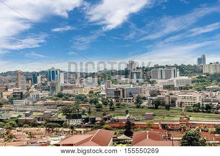 Kampala, Uganda- April 3, 2016: View from the above of the Capital city Kampala in Uganda Africa