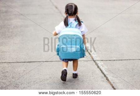 Asian Girl With School Bag