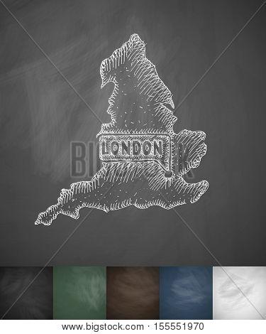 England icon. Hand drawn vector illustration. Chalkboard Design