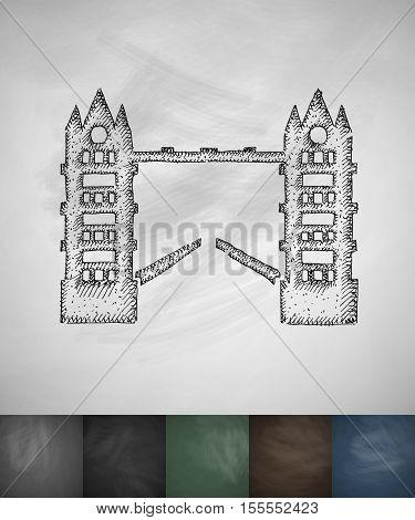 Tower Bridge icon. Hand drawn vector illustration. Chalkboard Design