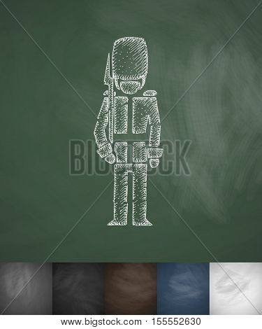 beefeater icon. Hand drawn vector illustration. Chalkboard Design