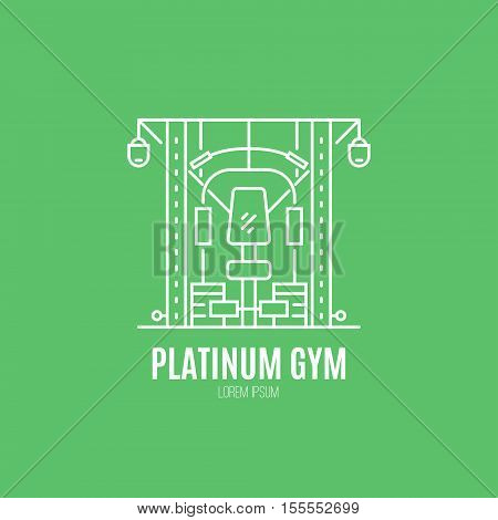 Single logo with a multifunctional training machine made in modern line style vector. Perfect label for gym, fitness or other healthy lifestyle industry.