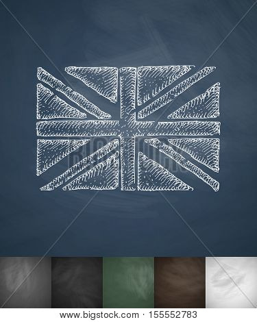 flag of England icon. Hand drawn vector illustration. Chalkboard Design