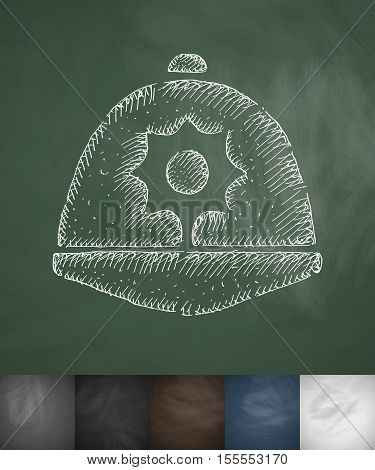 headdress icon. Hand drawn vector illustration. Chalkboard Design