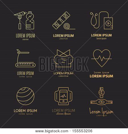 Collection of different fitness and gym icons. Healthy lifestyle vector. Bodybuilding and sport line series.