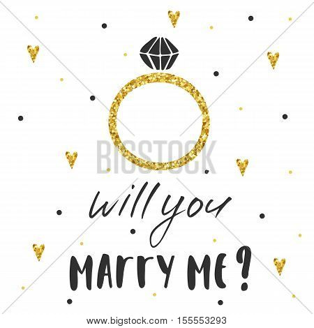 Cute hand drawn card postcard with marriage ring hearts polka dots. Background with will you marry me lettering quote