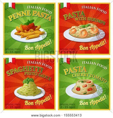 Set of Italian pasta posters. Cartoon vector illustration. Design templates of food banners.