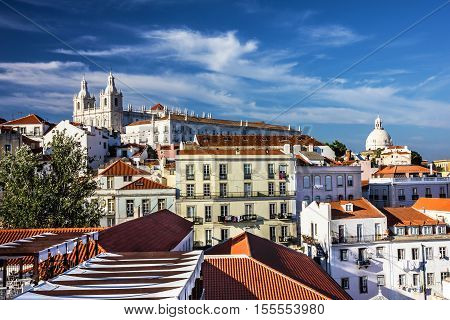 Panoramic view on Saint Vicente de Fora Monastery, Lisbon, Portugal