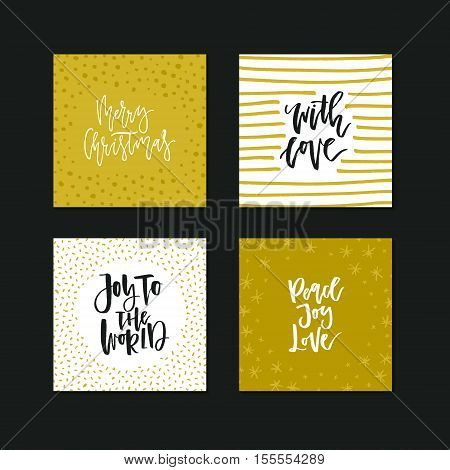 Unique holiday greeting card collection with handwritten quotes. Christmas and New Year cards.