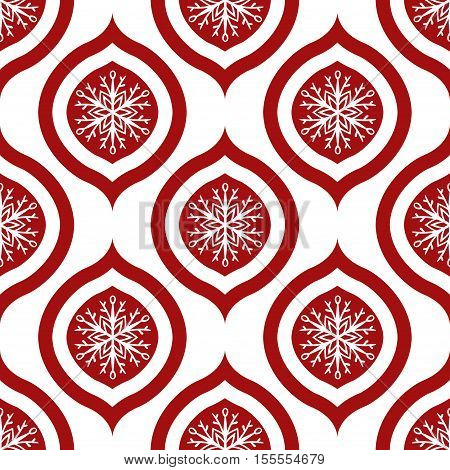 Red Snowflake Ornament Seamless Pattern