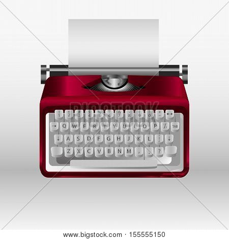 Retro typewriter with white paper sheet. Vector 3d model.