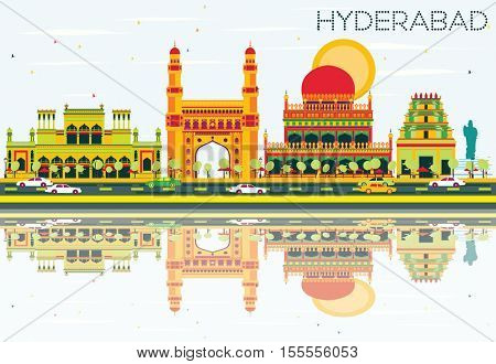 Abstract Hyderabad Skyline with Color Landmarks and Reflections. Vector Illustration. Business Travel and Tourism Concept with Historic Architecture. Image for Presentation Banner Placard and Web Site