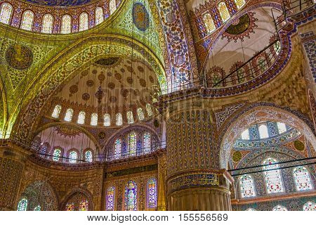 Istanbul, Turkey - May 3, 2016: Internal view of Blue Mosque Sultanahmet, Istanbul, Turkey