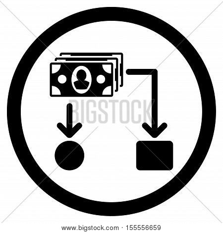 Cashflow rounded icon. Vector illustration style is flat iconic symbol, black color, white background.