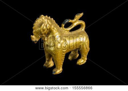 Lion Ancient Statue - Golden Lion Statue In Thai Style With Isolated On Black Background.