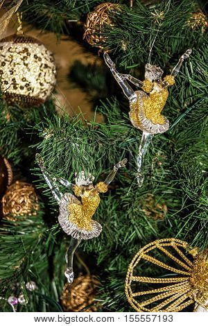New Year decoration. Ballerina figures - Christmas tree decor.