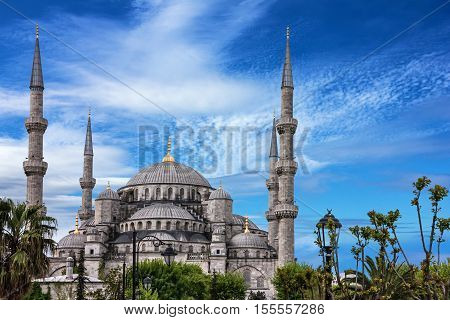 Blue mosque Sultanahmet in Istanbul, Turkey. Turkish landmark