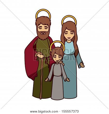 Mary joseph and jesus kid icon. Holy night family christmas and betlehem theme. Isolated design. Vector illustration