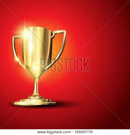 Golden trophy isolated on background. Eps10 illustration