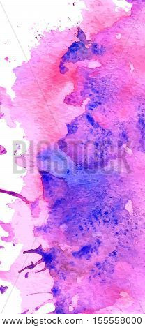 Colorful abstract watercolor background with splashes and spatters. Modern creative backdrop for trendy design. Vector illustration.