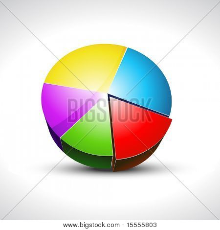 shiny colorful pie graph vector icons