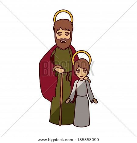 Joseph and jesus kid icon. Holy night family christmas and betlehem theme. Isolated design. Vector illustration