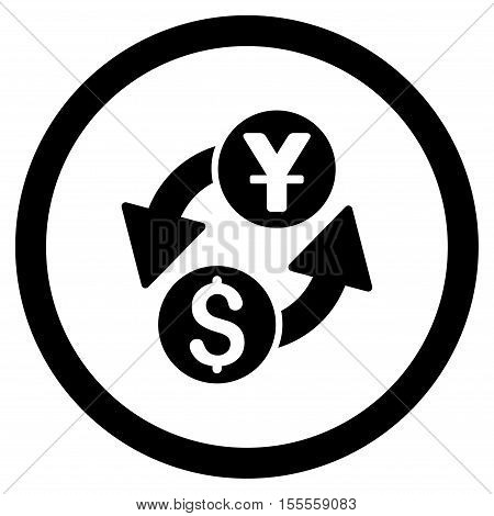 Dollar Yuan Exchange rounded icon. Vector illustration style is flat iconic symbol, black color, white background.
